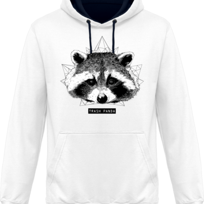 Sweat capuche / Hoodie Raton Laveur/Racoon - Trash Panda - Arctic White / French Navy - Face