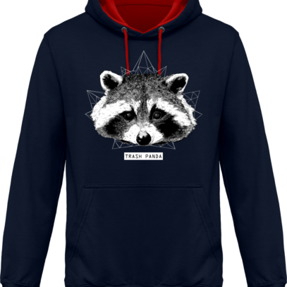 Sweat capuche / Hoodie Raton Laveur/Racoon - Trash Panda - Navy / Fire Red - Face