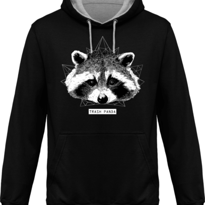 Sweat capuche / Hoodie Raton Laveur/Racoon - Trash Panda - Jet Black / Heather Grey - Face