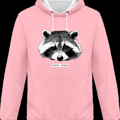 Sweat capuche / Hoodie Raton Laveur/Racoon - Trash Panda - Baby Pink / Arctic White - Face
