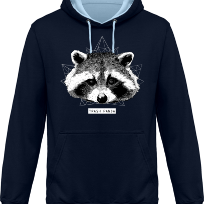 Sweat capuche / Hoodie Raton Laveur/Racoon - Trash Panda - New French Navy / Sky Blue* - Face