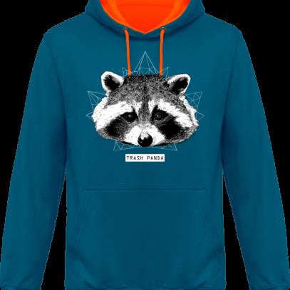Sweat capuche / Hoodie Raton Laveur/Racoon - Trash Panda - Sapphire Blue / Orange Crush* - Face