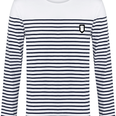 Marinière Bretagne brodée - Breizh Traveller - Striped White / Navy - Face