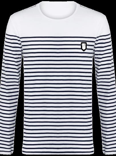 Marinière Bretagne brodée - Breizh Traveller - Striped White / Navy - Face