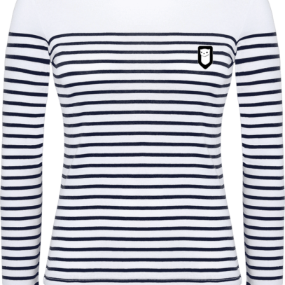 Marinière Bretagne - Broderie Breizh Traveller - Striped White / Navy - Face