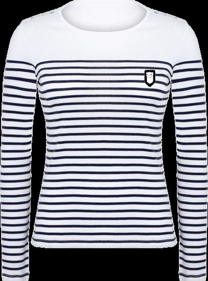 Marinière Bretagne - Broderie Breizh Traveller - Striped White / Navy - Face