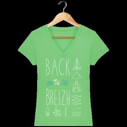 Tee Shirt Breton Back to Breizh - De retour en Bretagne - Chameleon Green - Face