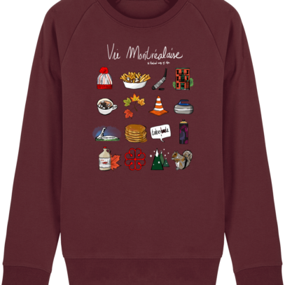 Sweat Shirt Vie Montréalaise - Montréal, way of live - Burgundy - Face