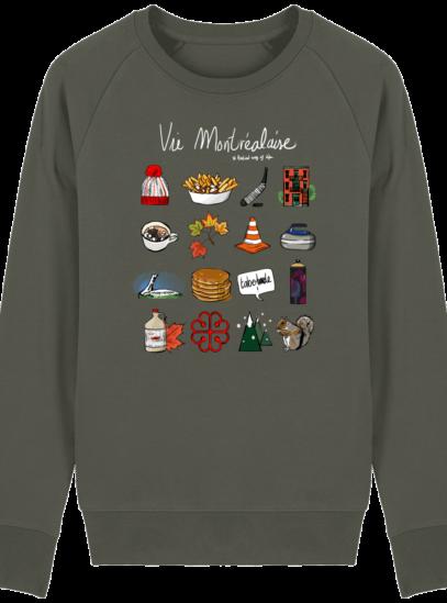 Sweat Shirt Vie Montréalaise - Montréal, way of live - Khaki - Face