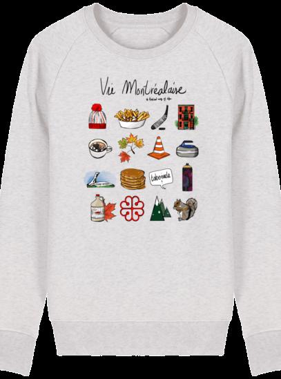 Sweat Shirt Vie Montréalaise - Montréal, way of live - Cream Heather Grey - Face