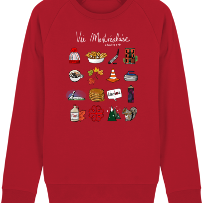 Sweat Shirt Vie Montréalaise - Montréal, way of live - Red - Face