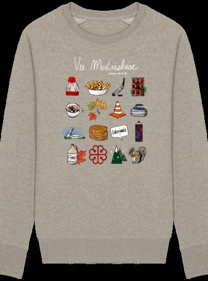Sweat Shirt Vie Montréalaise - Montréal, way of live - Heather Sand - Face