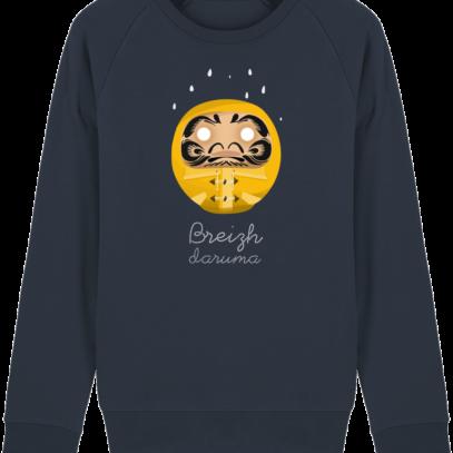 Sweat Shirt Breton - Breizh Daruma Ciré Jaune - French Navy - Face