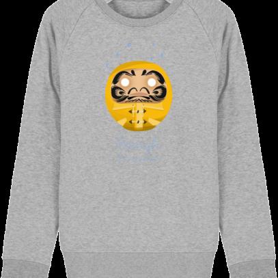 Sweat Shirt Breton - Breizh Daruma Ciré Jaune - Heather Grey - Face