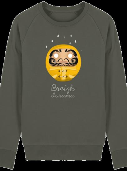 Sweat Shirt Breton - Breizh Daruma Ciré Jaune - Khaki - Face