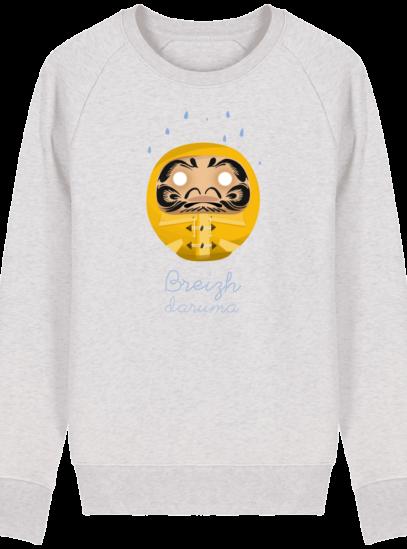 Sweat Shirt Breton - Breizh Daruma Ciré Jaune - Cream Heather Grey - Face