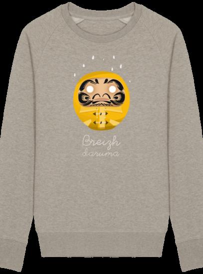 Sweat Shirt Breton - Breizh Daruma Ciré Jaune - Heather Sand - Face