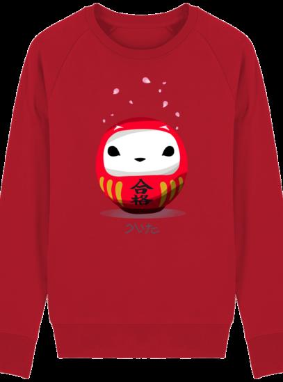 Sweat Shirt Breton - Breizh Daruma Hermine - Red - Face
