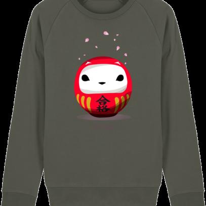 Sweat Shirt Breton - Breizh Daruma Hermine - Khaki - Face
