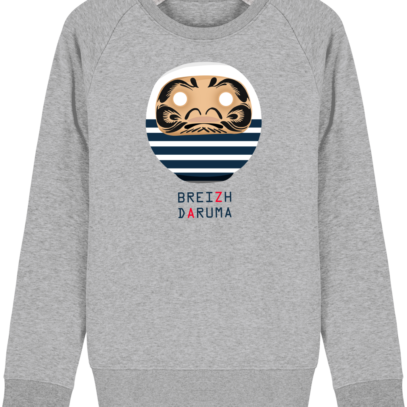 Sweat Shirt Breton - Breizh Daruma Marinière - Heather Grey - Face
