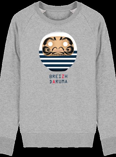 Sweat Shirt Breton - Breizh Daruma Marinière - Heather Grey - Face