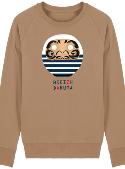 Sweat Shirt Breton - Breizh Daruma Marinière - Camel - Face