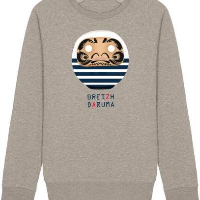 Sweat Shirt Breton - Breizh Daruma Marinière - Heather Sand - Face