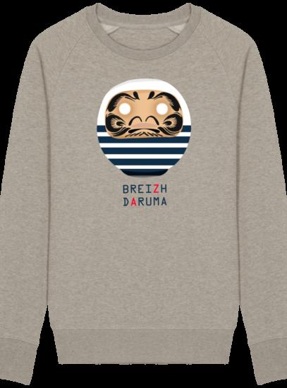 Sweat Shirt Breton - Breizh Daruma Marinière - Heather Sand - Face