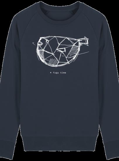 Sweat Shirt inspiration Japonaise - Fugu Time - French Navy - Face