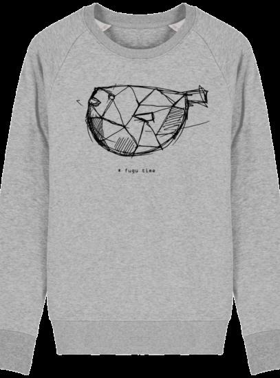 Sweat Shirt inspiration Japonaise - Fugu Time - Heather Grey - Face