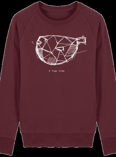 Sweat Shirt inspiration Japonaise - Fugu Time - Burgundy - Face