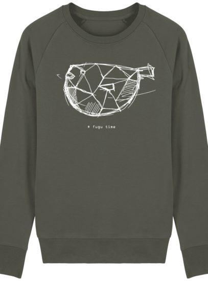 Sweat Shirt inspiration Japonaise - Fugu Time - Khaki - Face