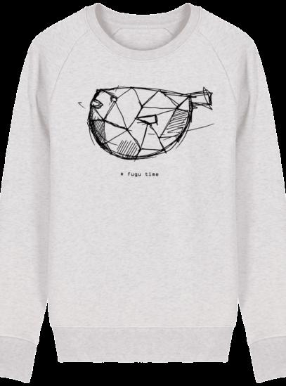 Sweat Shirt inspiration Japonaise - Fugu Time - Cream Heather Grey - Face
