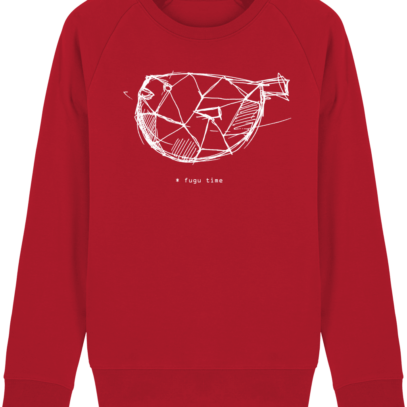 Sweat Shirt inspiration Japonaise - Fugu Time - Red - Face