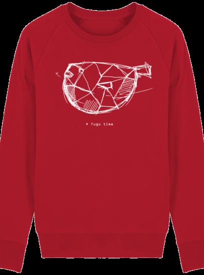 Sweat Shirt inspiration Japonaise - Fugu Time - Red - Face