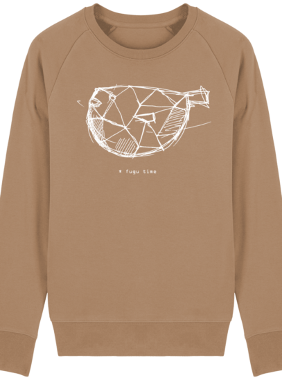 Sweat Shirt inspiration Japonaise - Fugu Time - Camel - Face