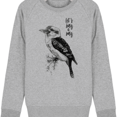 Sweat Shirt Kookaburra - Let's sing a song - Heather Grey - Face