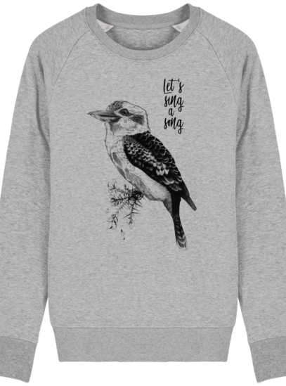 Sweat Shirt Kookaburra - Let's sing a song - Heather Grey - Face