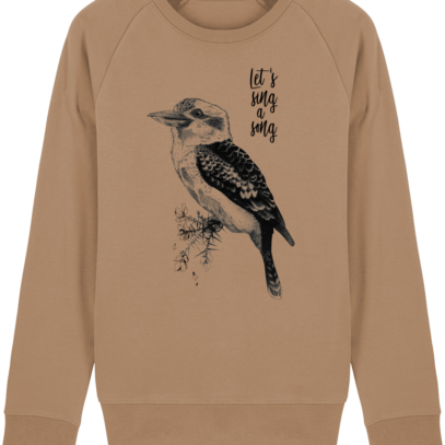 Sweat Shirt Kookaburra - Let's sing a song - Camel - Face
