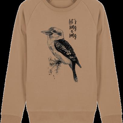 Sweat Shirt Kookaburra - Let's sing a song - Camel - Face