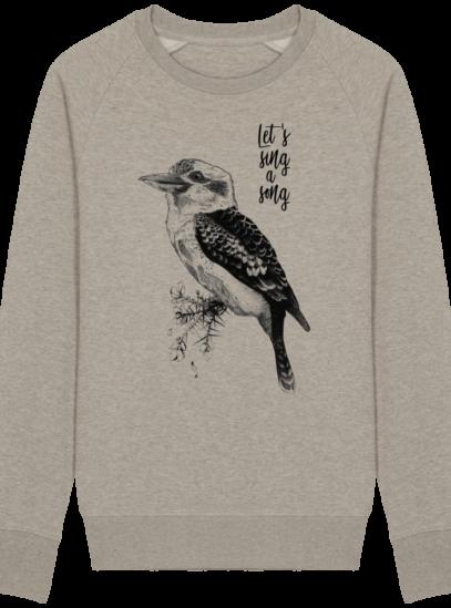 Sweat Shirt Kookaburra - Let's sing a song - Heather Sand - Face
