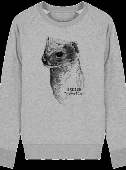 Sweat Shirt Breton - Hermine Bretonne - Breizh Traveller - Heather Grey - Face