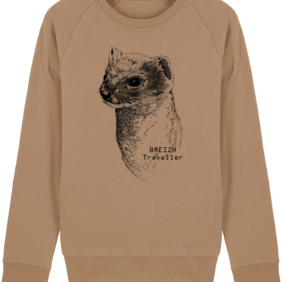 Sweat Shirt Breton - Hermine Bretonne - Breizh Traveller - Camel - Face