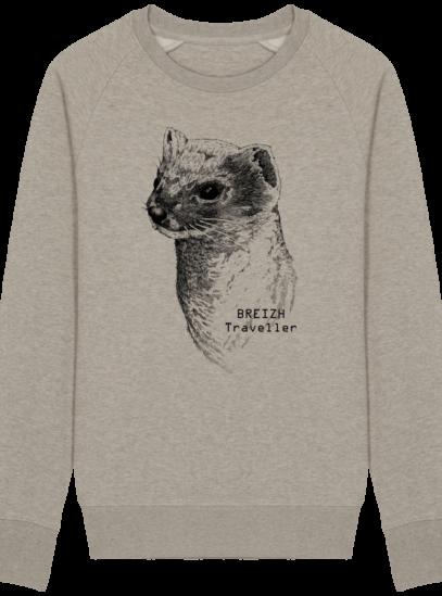 Sweat Shirt Breton - Hermine Bretonne - Breizh Traveller - Heather Sand - Face