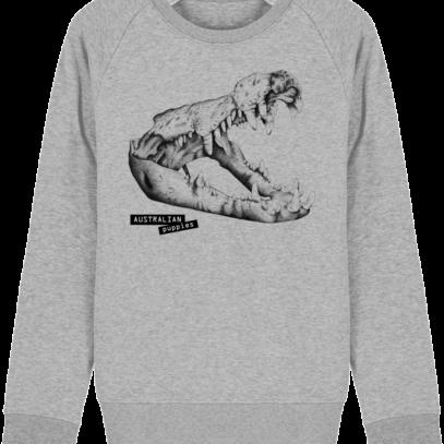 Sweat Shirt Crocodile - Australian Puppies - Heather Grey - Face