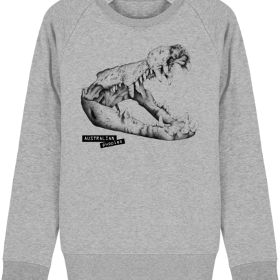 Sweat Shirt Crocodile - Australian Puppies - Heather Grey - Face