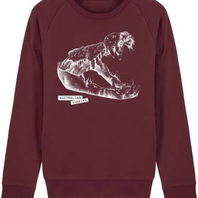 Sweat Shirt Crocodile - Australian Puppies - Burgundy - Face