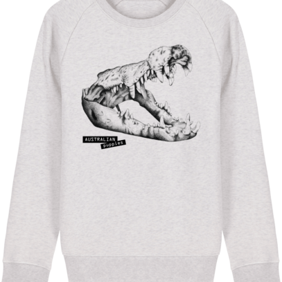 Sweat Shirt Crocodile - Australian Puppies - Cream Heather Grey - Face