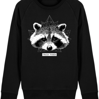 Sweat Shirt Raton Laveur/Racoon - Trash Panda - Black - Face