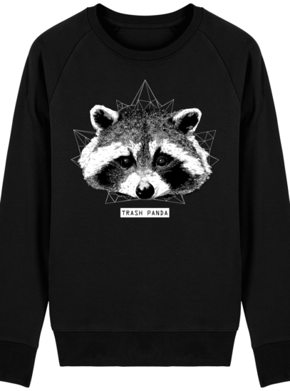 Sweat Shirt Raton Laveur/Racoon - Trash Panda - Black - Face